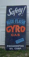 Rare Blue Flash Gyro Gas Porcelain Sign