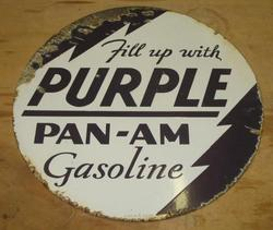 Very Rare Pan Am Purple Gas Sign